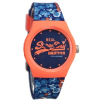 Superdry SYL169UCO Jam Tangan Wanita Rubber Strap - Biru Putih Ring Orange