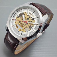 Jam Tangan Pria Tissot Skeleton Machine Leather Brown White Automatic GRATIS BOX