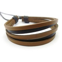 [macyskorea] APECTO Jewelry Mens Womens Genuine Leather Bracelet, Surfer Wrap Bangle (Brow/10885779