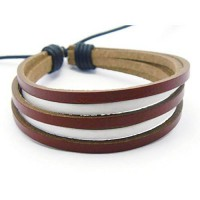 [macyskorea] APECTO Jewelry Mens Womens Genuine Leather Bracelet, Surfer Wrap Bangle (Red /10885774