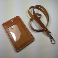 ID card holder kulit asli warna tan|gantungan id card | tali id card