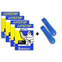 [worldbuyer] Michelin Airstop PRESTA Valve 700 x 18-25C 80mm Bicycle Tube (4 TUBES & 2 PAR/1225094