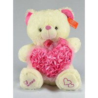 [poledit] JM Dreamline Valentines Day Plush Musical Teddy Ivory Bear with Pink Hearts - 15/13412634