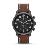 Original FOSSIL Men Watch FS4874 Townsman Chronograph Leather Premium Brown