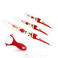 Oxone OX-607 4Pcs Flower Knife Set - Merah