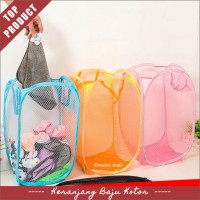 Keranjang Lipat Foldable Mesh Net Basket Laundry Bag