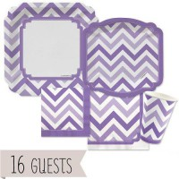 [poledit] Big Dot of Happiness Chevron Purple - Party Tableware Bundle for 16 Guests (R2)/12123536