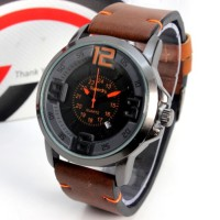 Jam Tangan Cowok Superdry Leather Dark Brown Black