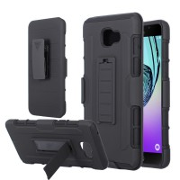 Samsung Galaxy A9 Pro Armor Hybrid Impact and Belt Clip Holster Stand Hard Cover Case - BLACK