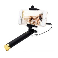 Tongsis Kabel Lipat | Three Generation Selfie Stick for Android and iOS | Black Edition