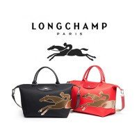 Tas Wanita AUTHENTIC Longchamp LePliage Neo Gold Horse Medium