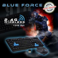 Wireless Gaming Keyboard Mouse Blue Force Macros