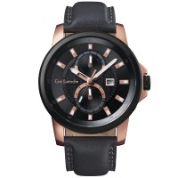 Moment watch - guy laroche G3001-03 jam tangan pria - leather strap - hitam