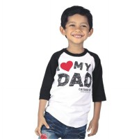 Catenzo Junior T-Shirt / Kaos Anak Raglan White & Black CPSx003 I LOVE MY DAD