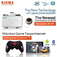 3D VR Riem 3+T3 VR Box Cardboard 2 w/ Capacitive Touch Button & Gamepad Android T3,Virtual Reality