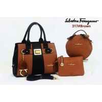 TAS SALVATORE FERRAGAMO NATASHA (317) BROWN
