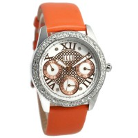 Elle Jam Tangan Wanita Orange Leather Strap EL20365S06N