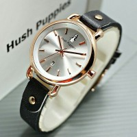 Original Hush Puppies Jam Tangan Wanita 3855L Genuine Leather Strap hitam 22