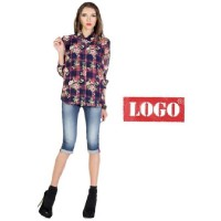 Logo Jeans - Lady Rose Navy Pink Long Sleeves Shirt