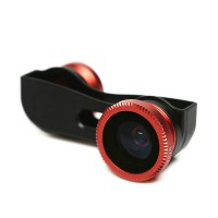Lesung Fisheye 3 in 1 Photo Lens Quick Change Camera for iPhone 5/5s/SE - LX-S001 - Red