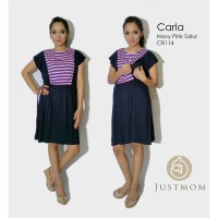 Just Mom baju menyusui CARLA – Navy Pink Salur