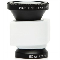 Lesung Fisheye 3 in 1 Photo Lens Quick Change Camera for iPhone 5/5s/SE - LX-I005 - White