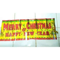 Banner/Flag Merry Christmas and Happy New Year Motif Rumbai