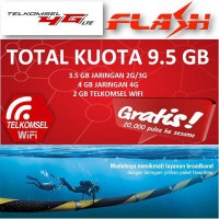 Telkomsel Flash 4G LTE Total Kuota 9.5 GB (3.5 GB @ 3G + 4 GB @ 4G + 2 GB @ TSel WIFI) STG100