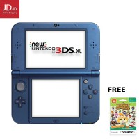 NINTENDO New 3DS XL Blue + Screenguard + 3RD Party Adapter (Region Asia) - FREE Amiibo Animal Cross