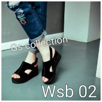 wedges casual suede hitam wsb 02