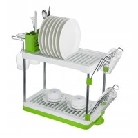 BASILA DISH RACK 2L W/ GLASS HOLDER TANGRAM GREEN