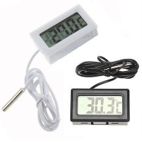 Digital Thermometer with Probe for Aquarium Length 1m - Black / White