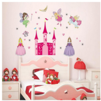 wall paper / stiker tembok princess castle unicorn girly - KHM048