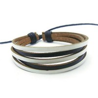 [macyskorea] APECTO Jewelry Mens Womens Genuine Leather Bracelet, Surfer Wrap Bangle (Blac/9275209