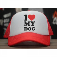 [JersiClothing] Topi Trucker I Love My Dog - Merah Putih