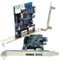 2-Port SuperSpeed Mini USB 3.0 Hot-swapping Expansion PCI-E PCIE PCI Express 1x Network Card Adapter