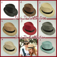 D & D Hat Collection Topi Fedora Knitted Straw Polos Dewasa Impor