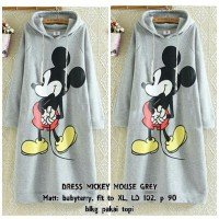 DRESS HOODIE MICKEY MOUSE GREY(CAN)BAHAN BABYTERRY FIT TO XL