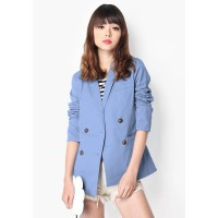 HATTAWAY DOUBLE BREASTED BLAZER IN SKY From A for Arcade
