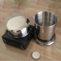 CANGKIR LIPAT - STAINLESS STEEL TRAVEL FOLDING COLLAPSIBLE CUP 240 ml