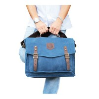 BOURZU MAP 2 IN 1 Messenger and Handbag with Real Leather accesories - BLUE