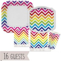 [poledit] Big Dot of Happiness Chevron Rainbow - Party Tableware Bundle for 16 Guests (R2)/12123317