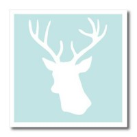 [macyskorea] 3dRose ht_155672_2 White Deer head Silhouette on Mint Blue - Stag Antlers - S/10781673