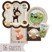 [poledit] Big Dot of Happiness Woodland Creatures - Party Tableware Bundle for 16 Guests (/12123781