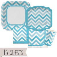 [poledit] Big Dot of Happiness Chevron Blue - Party Tableware Bundle for 16 Guests (R2)/12124080