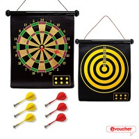 Double Sided Hanging Magnetic Dart Board Set Game 17 Inch with 6 Magnetic Arrow