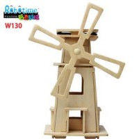 [globalbuy] New Wooden toy 3D puzzle model assembled together flat solar windmill DIY Orig/1880482