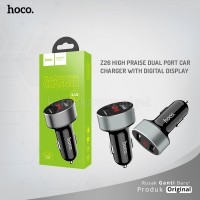 POP UP HOCO Z26 high praise dual port car charger with digital display