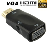 Full HD 1080P Mini HDMI Male to VGA and Audio Adapter for HDTV / Monitor / Projector - Hitam