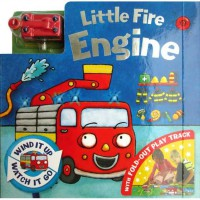 [HelloPandaBooks] Little Fire Engine Board Book with Fold-Out Play Track and Red Fire Engine